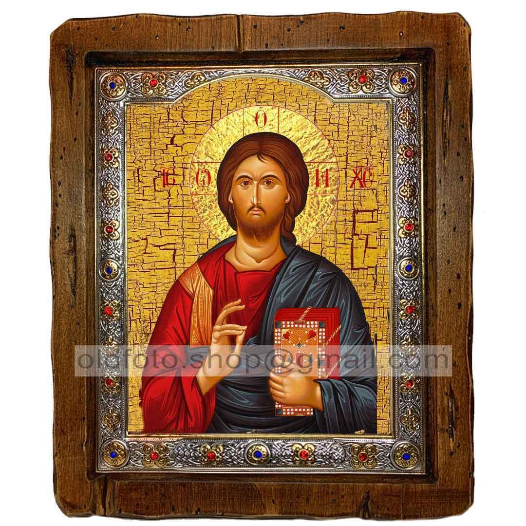 Икона Спаситель Господь Вседержитель  ,с посеребренным окладом 110х130 мм