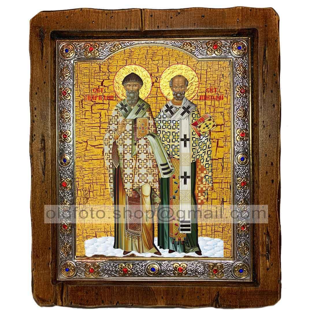 Икона Николай Чудотворец и Спиридон Тримифунтский (с посеребренной рамкой 110х130мм)