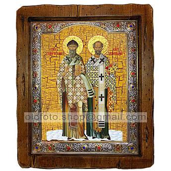 Икона Николай Чудотворец и Спиридон Тримифунтский  ,с посеребренным окладом 210х250 мм