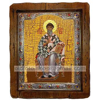 Икона Спиридон Святитель Тримифунтский (на престоле)  ,с посеребренным окладом 110х130 мм