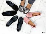 Жіночі туфлі лофери щіткою з натуральної шкіри, чорні, рожеві, червоні, бронзові, фото 2