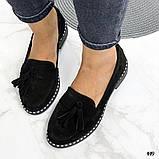 Жіночі туфлі лофери щіткою з натуральної шкіри, чорні, рожеві, червоні, бронзові, фото 3