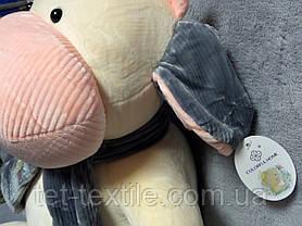 """Мягкая игрушка - подушка с пледом внутри """"Коровка с шарфиком"""" ванильно - серая, фото 3"""