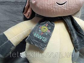 """Мягкая игрушка - подушка с пледом внутри """"Коровка с шарфиком"""" ванильно - серая, фото 2"""