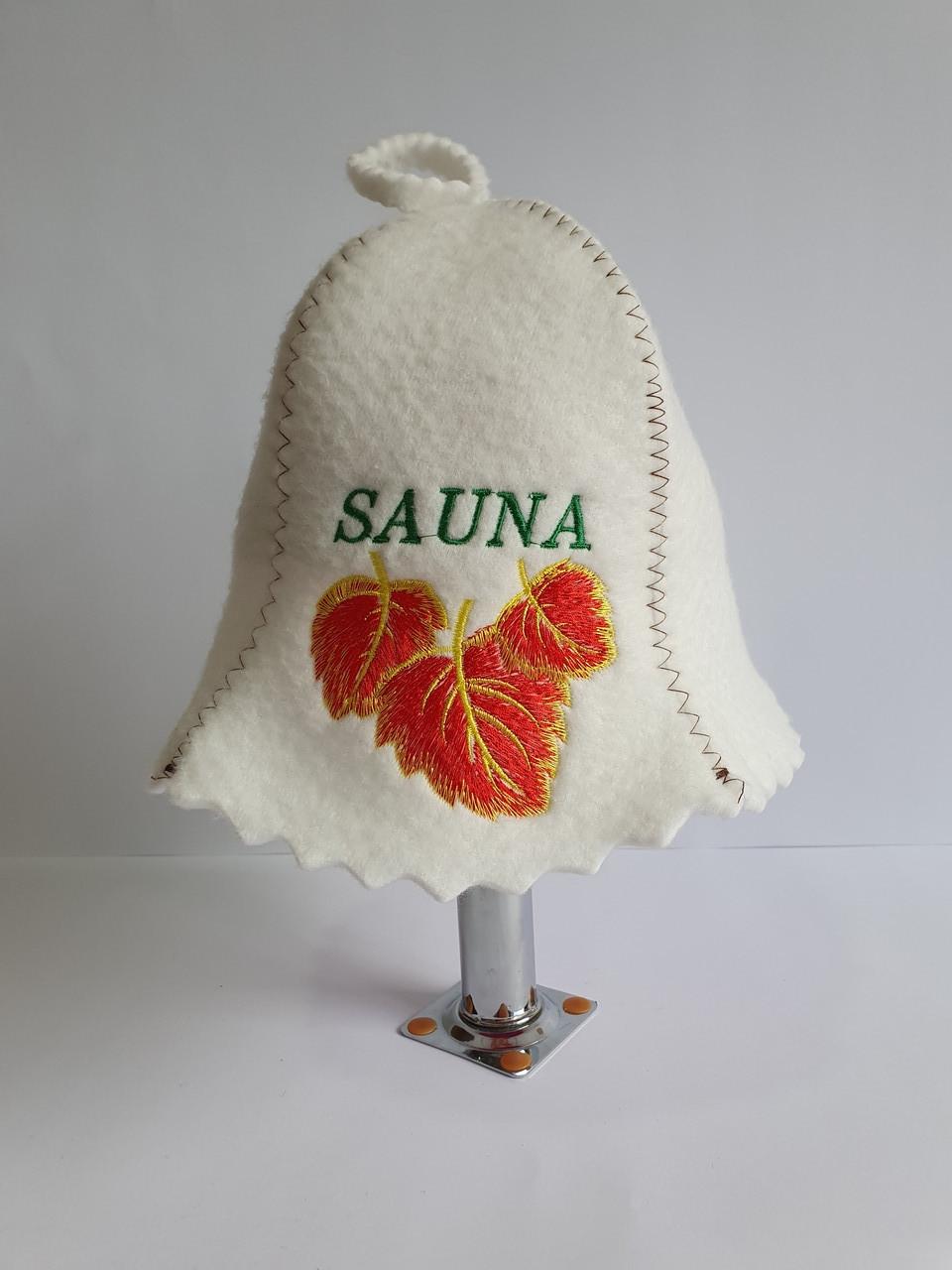 Шапка для бані та сауни з яскравою вишивкою Sauna золоте листя