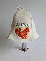 Шапка для бані та сауни з яскравою вишивкою Sauna золоте листя, фото 1
