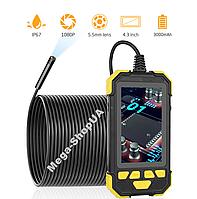Эндоскоп с экраном мини камера жесткий кабель 5 метров 1080p технический бороскоп для смартфона телефона