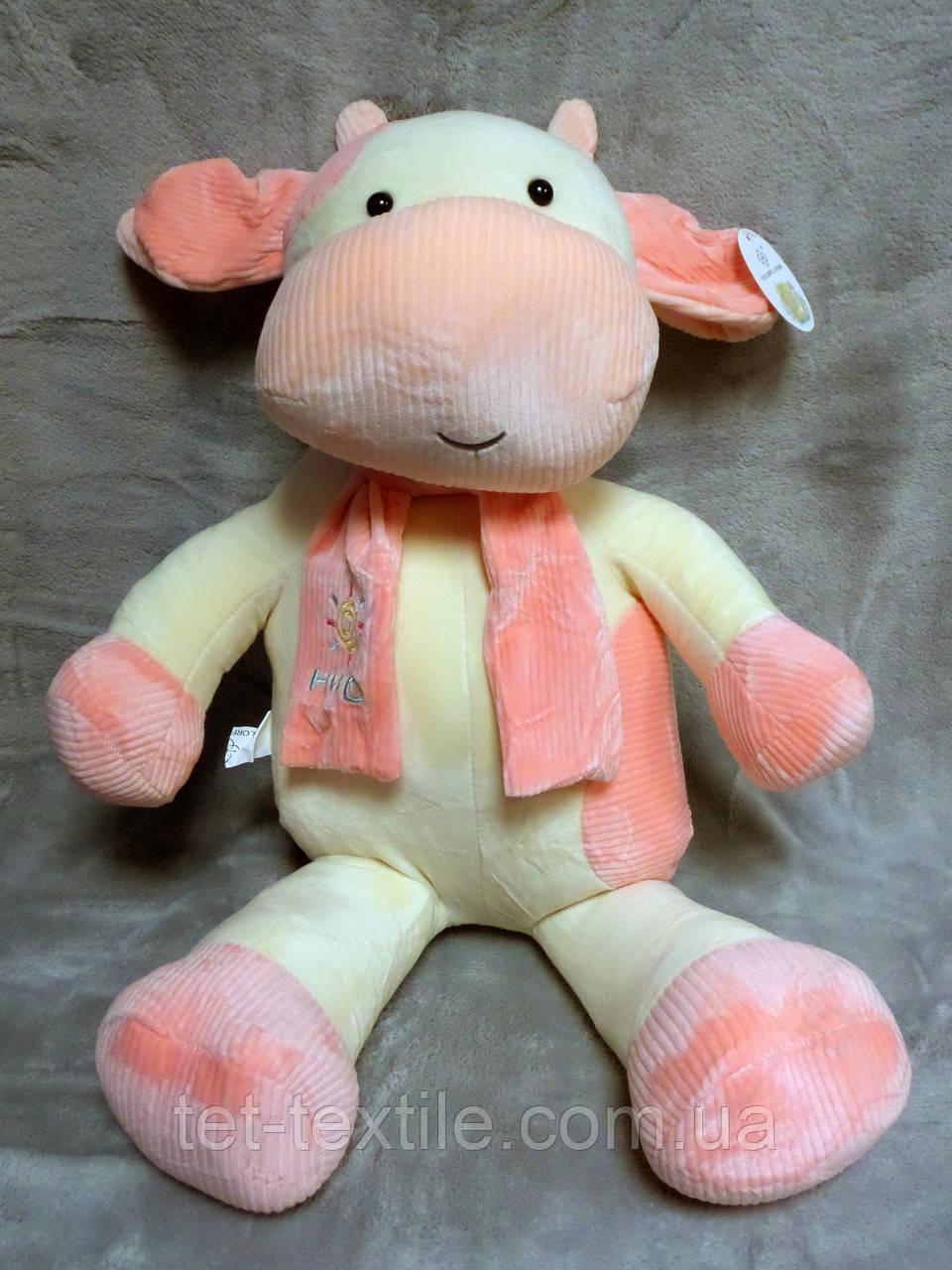 """Мягкая игрушка - подушка с пледом внутри """"Коровка с шарфиком"""" ванильно - розовая"""