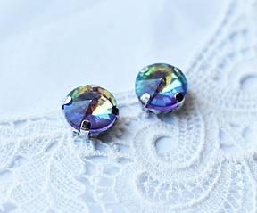 Стразы стеклянные Риволи 10мм, в пришивной оправе, фиолетовый