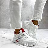 Женские кроссовки Jintu на массивной подошве белые+красные, эко кожа, фото 2