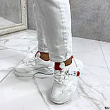Женские кроссовки Jintu на массивной подошве белые+красные, эко кожа, фото 3