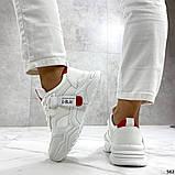 Женские кроссовки Jintu на массивной подошве белые+красные, эко кожа, фото 4