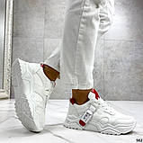 Женские кроссовки Jintu на массивной подошве белые+красные, эко кожа, фото 5