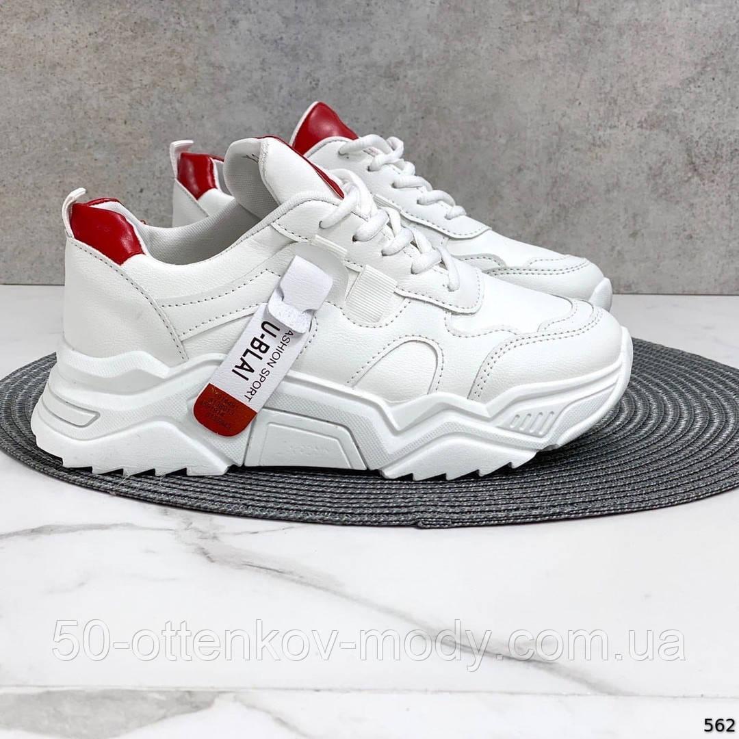 Женские кроссовки Jintu на массивной подошве белые+красные, эко кожа