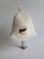 Шапка для бані та сауни з яскравою вишивкою З легким паром, фото 1