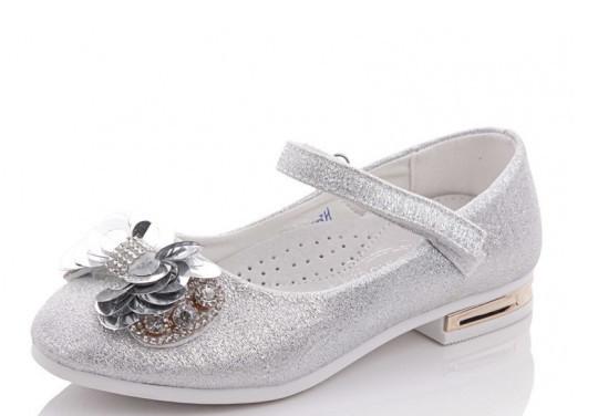 Туфли подросток серебряные,туфли детские школьные на девочку Солнце-Kimbo-o-SB90-3H