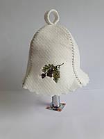 Шапка для бані та сауни з яскравою вишивкою Дубова гілка, фото 1