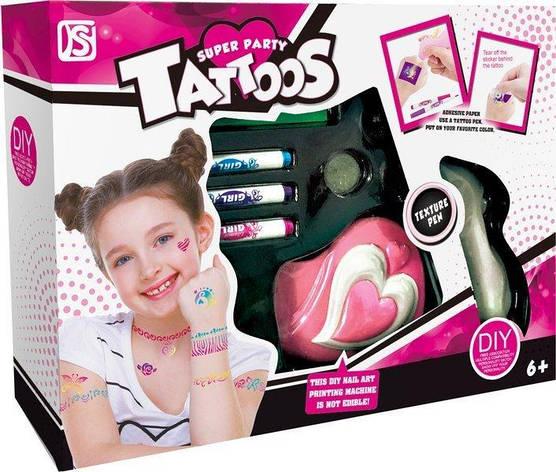 Детский игровой набор для татуировок с машинкой, трафаретами и фломастерами (серия детская косметика DIY), 883, фото 2