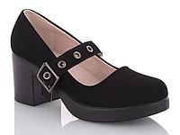 Женские туфли на среднем каблуке, Туфли замшевые на ремешке