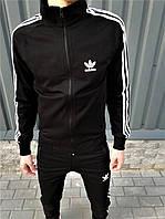 Спортивный костюм Adidas Originals black мужской  осенний черный | Олимпийка + Штаны Адидас ЛЮКС