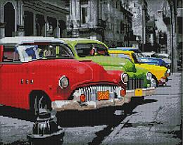 """Алмазная мозаика """"Ретро-автомобили на Кубе"""" (авто, автомобиль, машина, мужчине, парню, мальчику, сложная)"""