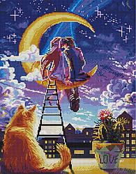 """Алмазная мозаика """"Двое на Луне"""" (любовь, кот, чувства, пара, ночное небо, луна)"""