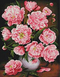"""Алмазная мозаика """"Садовые пионы"""" (розовые пионы, цветы, букет)"""