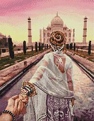 """Алмазная мозаика """"Следуй за мной. Тадж-Махал"""" (девушка, Индия, женщина)"""