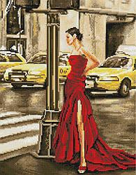 """Алмазная мозаика """"Девушка и желтое такси"""" (девушка, девушка в платье, женщина)"""