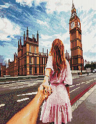 "Алмазная мозаика ""Следуй за мной. Лондон"" (девушка, Лондон, Англия, Биг Бен)"