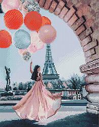 """Алмазная мозаика """"Париж в шарах"""" (Париж, девушка, Франция, Эйфелева Башня)"""