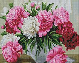 """Алмазная мозаика """"Пионы в вазе"""" (пионы, букет, цветы)"""