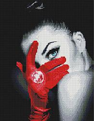 """Алмазная мозаика """"Девушка в красной перчатке"""" (девушка, черный, красный)"""