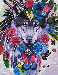 """Алмазная мозаика """"Волк в цветах"""" (волк, волчица)"""
