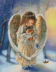 """Алмазная мозаика """"Ангелочек с котенком"""" (ангел, дети, ребенок, ангелок)"""
