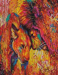 """Алмазная мозаика """"Царственная пара"""" (лев, львица, пара львов)"""