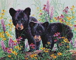 """Алмазная мозаика """"Медвежата в цветах"""" (животные, медведь, медвежонок)"""
