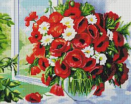 """Алмазная мозаика """"Букет из маков и ромашек"""" (букет, маки, ромашки, цветы, подарок)"""