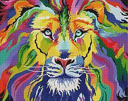 """Алмазная мозаика """"Красочный царь зверей"""" (животные, лев)"""