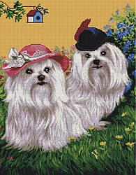 "Алмазная мозаика ""Милые болонки"" (собака, щенок)"
