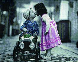 """Алмазная мозаика """"Маленькая любовь"""" (дети, ребенок, поцелуй)"""