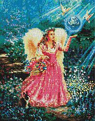 "Алмазная мозаика ""Ангел в саду"" (ангел, девочка, ангелок)"