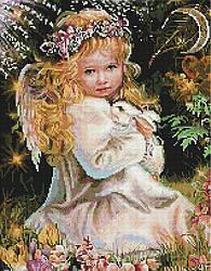 """Алмазная мозаика """"Ангелочек с зайкой"""" (ангел, девочка, ангелок)"""