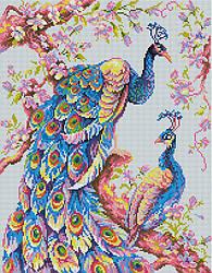 """Алмазная мозаика """"Пара павлинов"""" (птица, павлин, цветы)"""