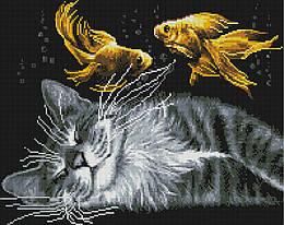 "Алмазная мозаика ""Мечты кота"" (кот, кошка, рыбки)"