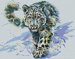 """Алмазная мозаика """"Снежный Барс"""" (барс, леопард, хищник, снег, животные)"""