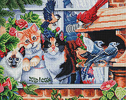 "Алмазная мозаика ""Котики в саду"" (Кот, Кошка, Котята)"