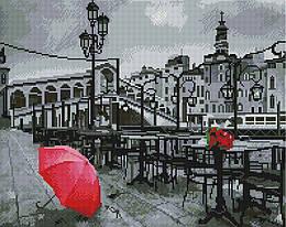 """Алмазная мозаика """"Тихая Венеция"""" (Венеция, черно-белая, красный, город, городской пейзаж)"""