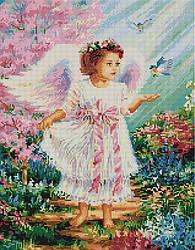 "Алмазная мозаика ""Ангелочек с синичками"" (ангел, ребенок, дети, ангелок)"