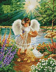 """Алмазная мозаика """"Ангелочек в саду"""" (ангел, ангелок, ребенок)"""